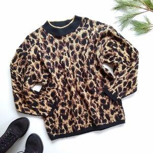 Vintage oversized animal print sweater